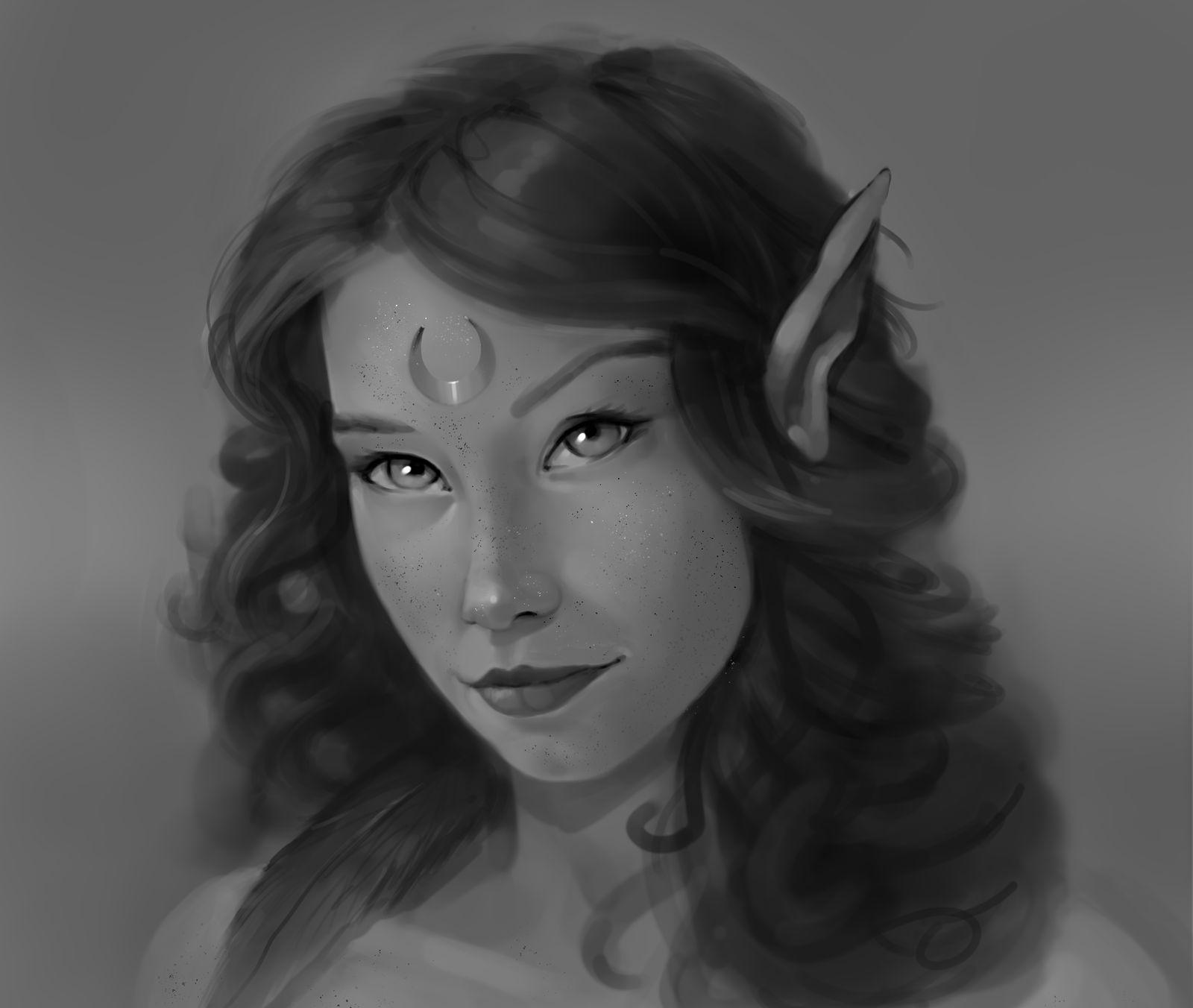 Gray Scale Practice-Elf Maiden