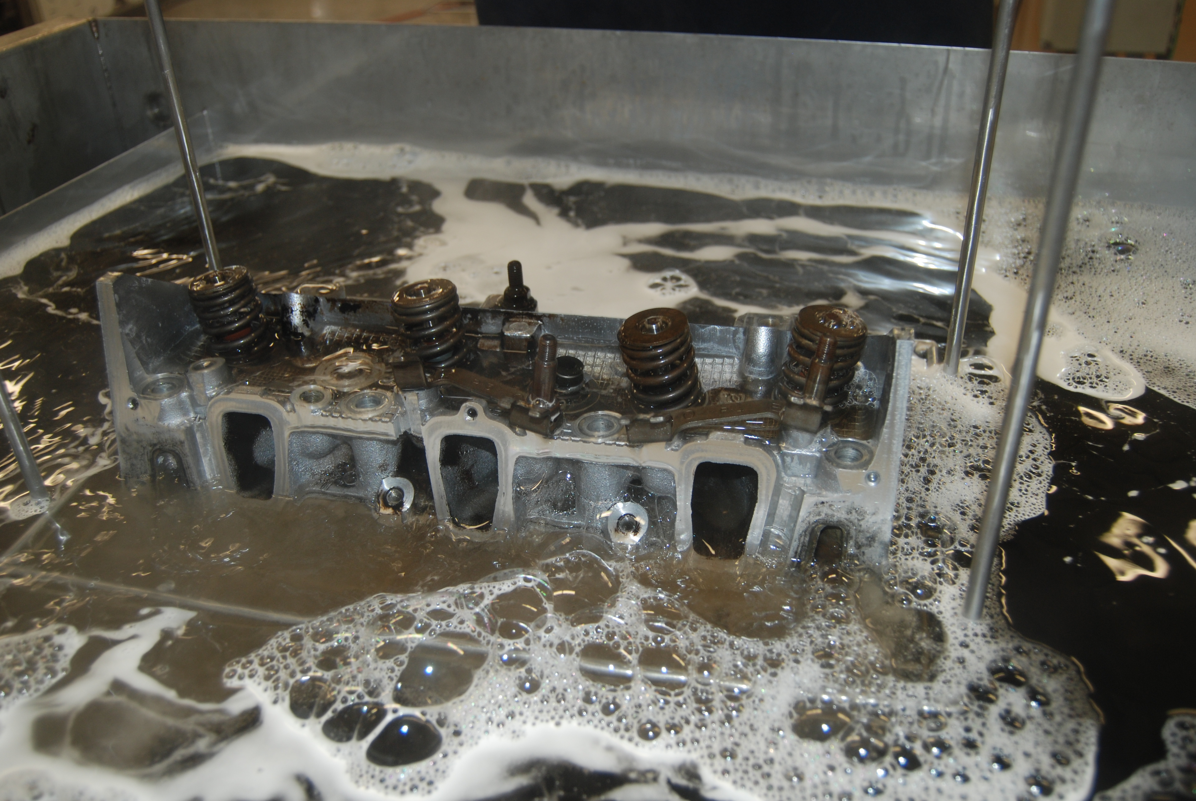 During ultrasonic cleaning