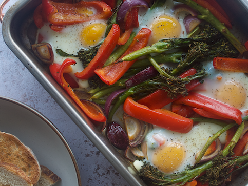 Tray Baked Eggs with Veggies