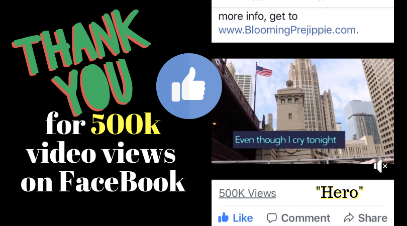 Thanks for 500k plays on Facebook  --Blooming Prejippie
