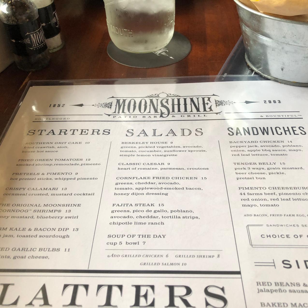 Moonshine menu