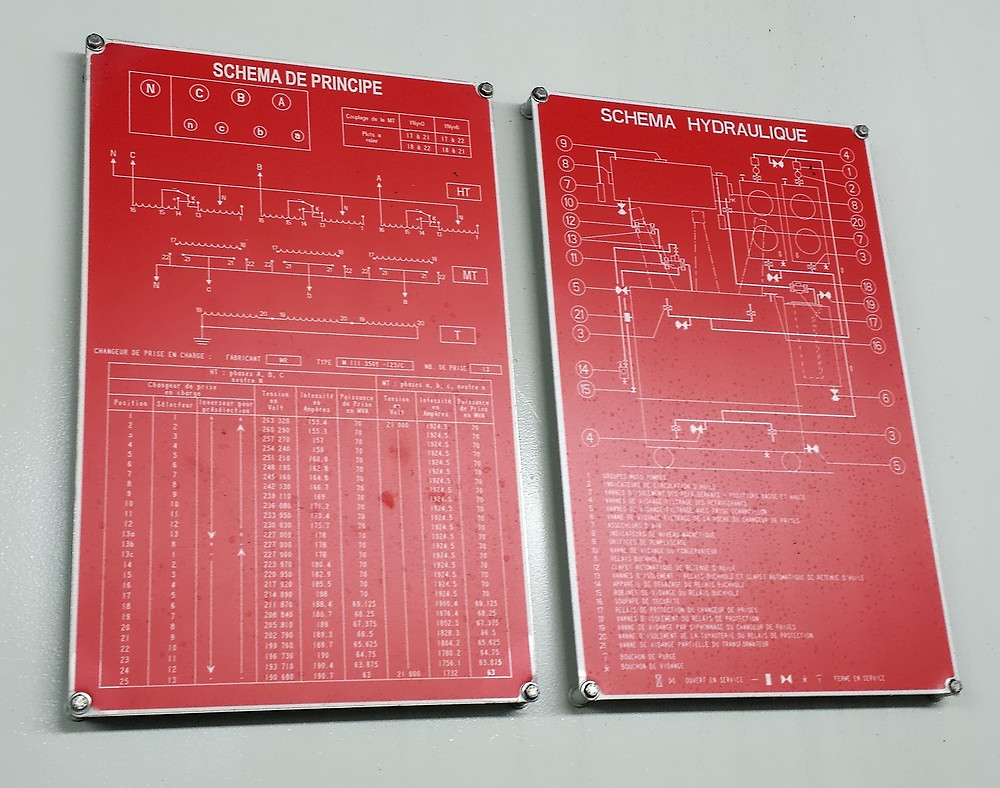 A configuration and figures set of plates as seen on a 225kV to 20 kV transformer in a French distribution substation
