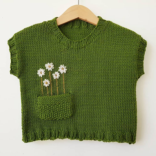 Sleeveless Jumper - Chamomile on Olive