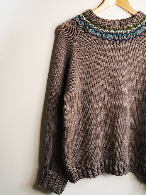 Jumper in Donkey with Blue Green Embroidery