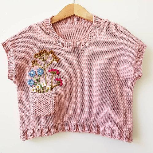 Sleeveless Jumper - Wildflowers on Pale Pink