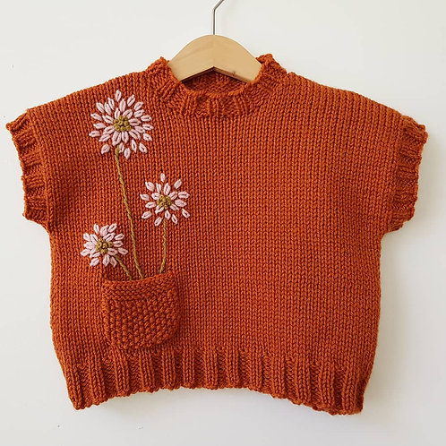 Dahlia on Rust Sleeveless Jumper