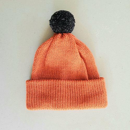 Pom Pom Beanie -  Pumpkin/Charcoal