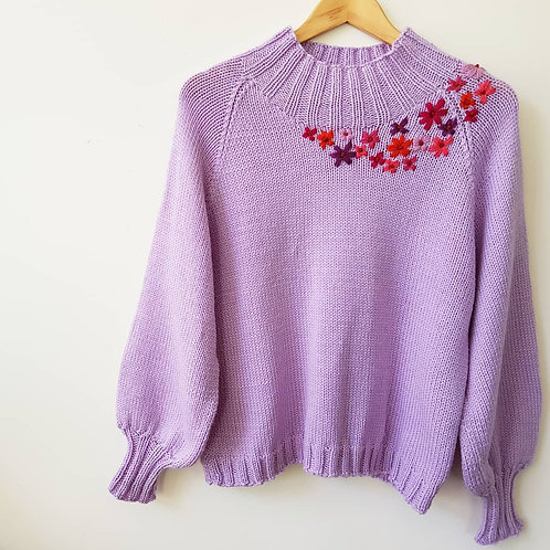 Full Sleeve Jumper with embroidered flowers