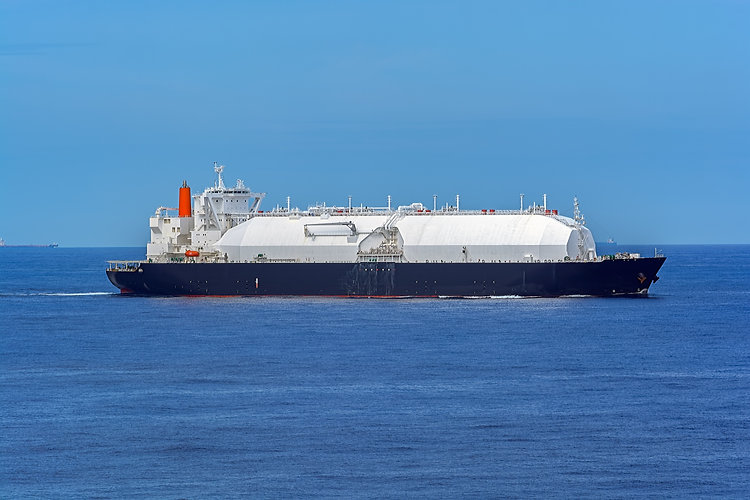 LPG or LNG gas carrier vessel underway i
