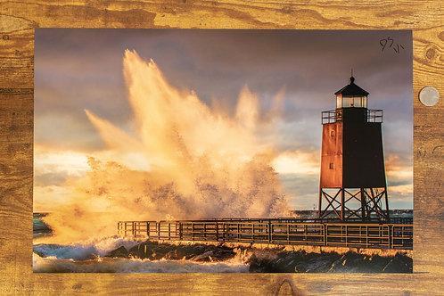 South Pier and Crashing Waves: 12x18 Loose Print