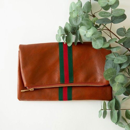Preppy Clutch Green & Red