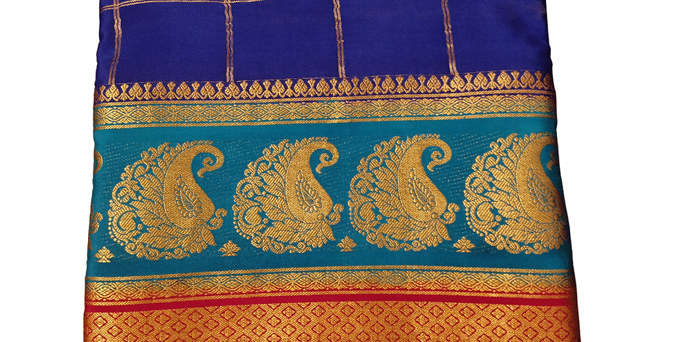 Double Line Mango Border Mysore Silk
