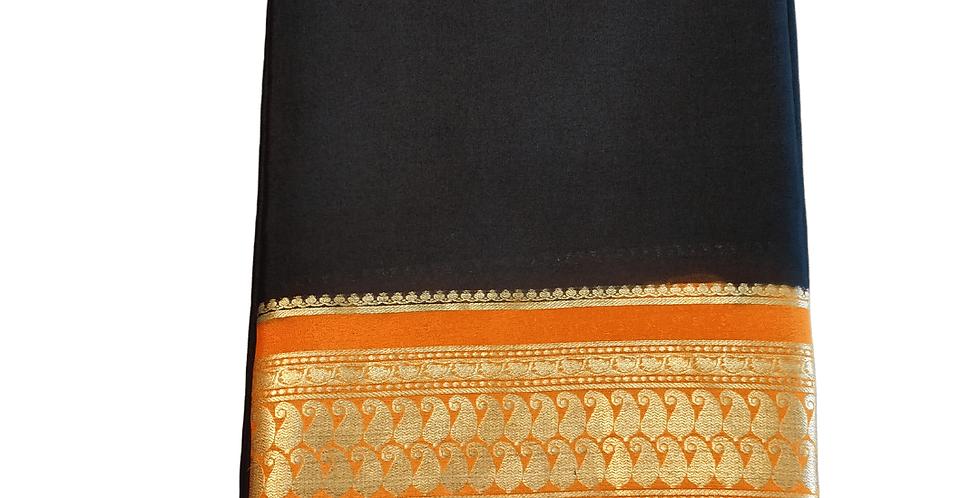 Mysore Silk Saree Pure Crepe (Black with traditional Orange Mango Border)