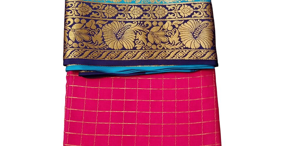 Mysore silk saree in premium pure crepe (Rani Pink Checks)