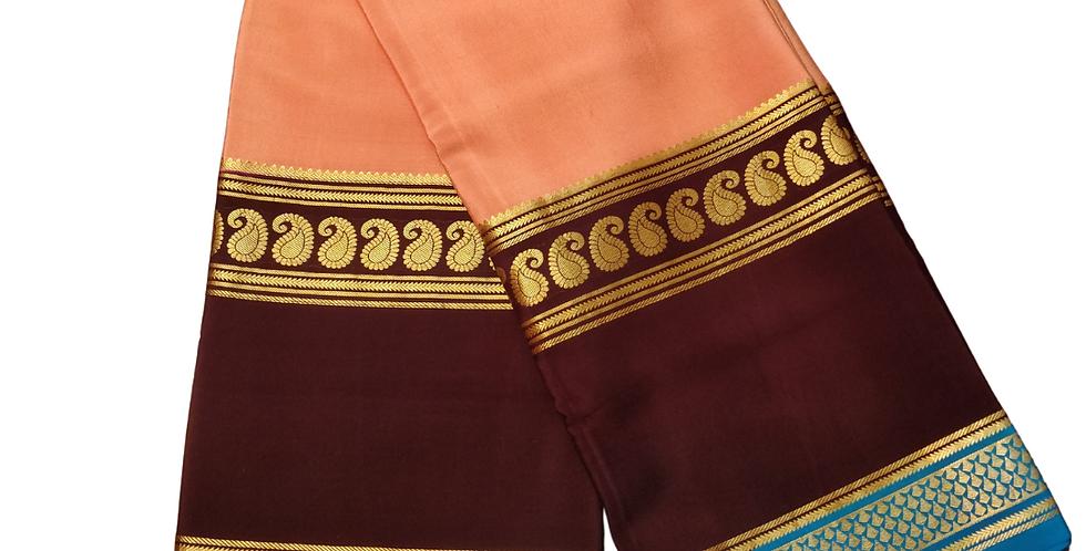 Mysore Silk Crepe 3d Saree(Peach)