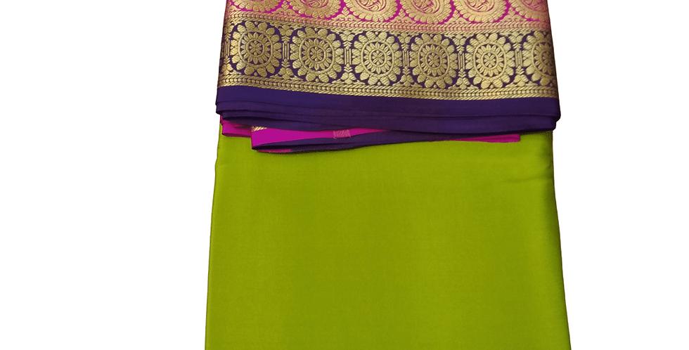 Mysore Silk Saree Pure Crepe Double Contrast Border (Olive Green)