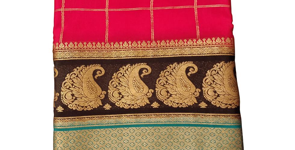 Double Line Mango Border Mysore Silk (Red)