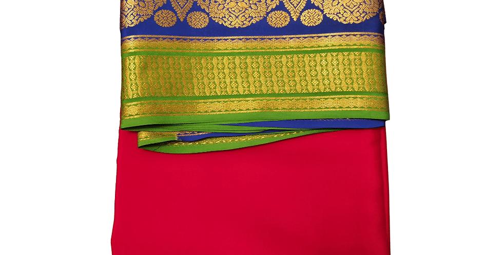 Mysore silk saree pure crepe with double colour border(Red)