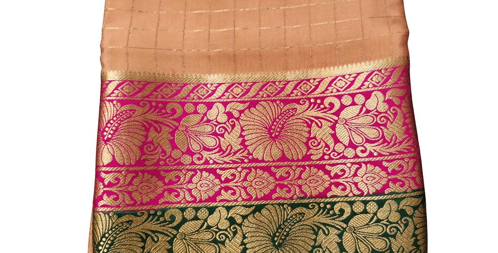 Mysore silk saree in premium pure crepe (Chickoo color Checks)