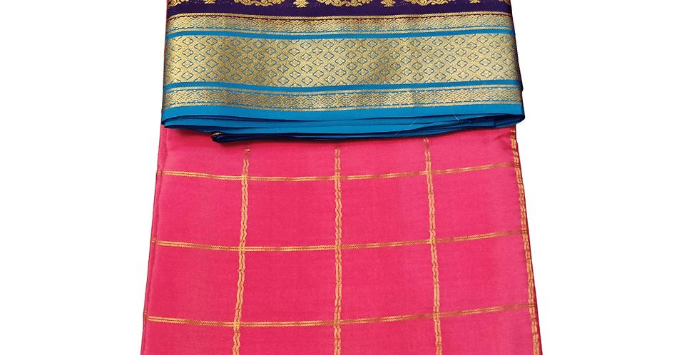 Mysore Silk saree pure Crepe (Mango 2 line checks, Onion Pink color)