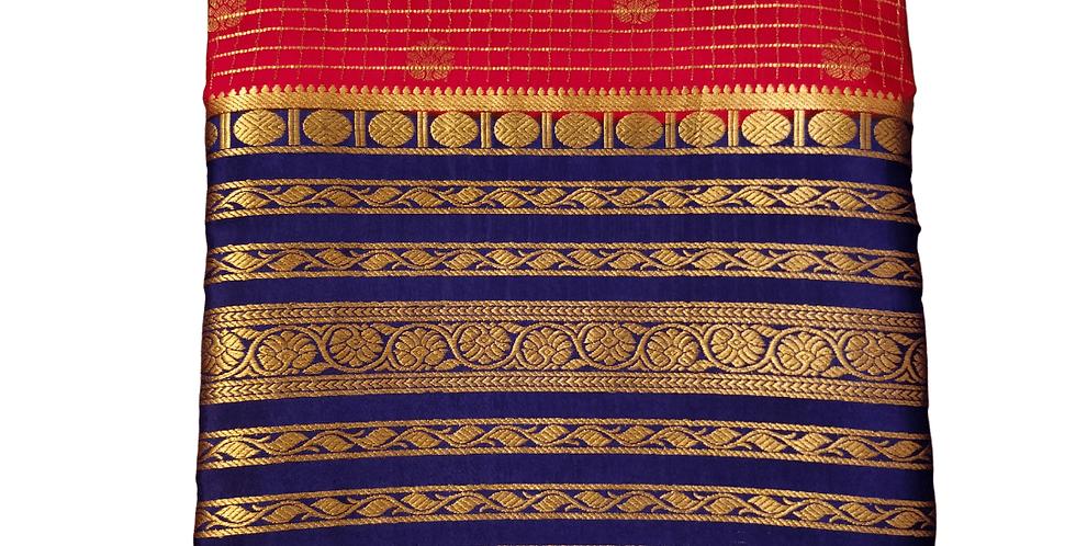 Mysore silk saree in checks pattern Crepe (Red)