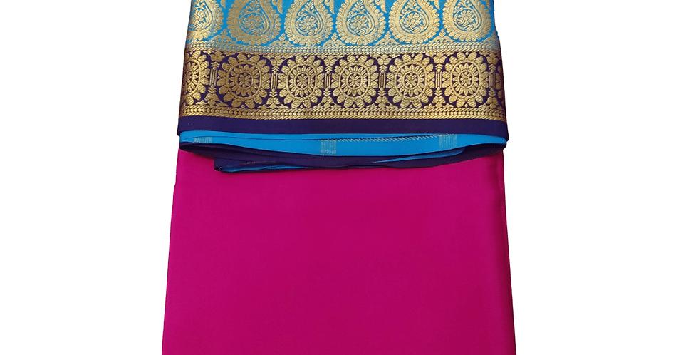 Mysore Silk Saree Pure Crepe Double Contrast Border (Rani Pink)