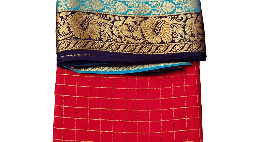 Mysore silk saree in premium pure crepe (Red checks)