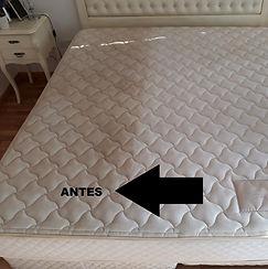 Limpieza de colchón antes y durante