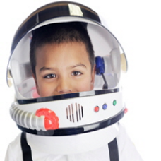 child in an astronauts helmet