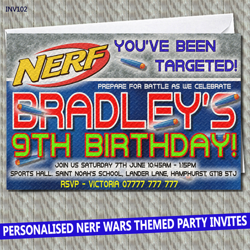 Personalised Unofficial Nerf Wars Party Invitations