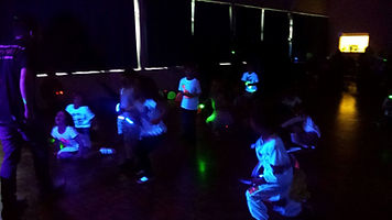 children playing at uv disco