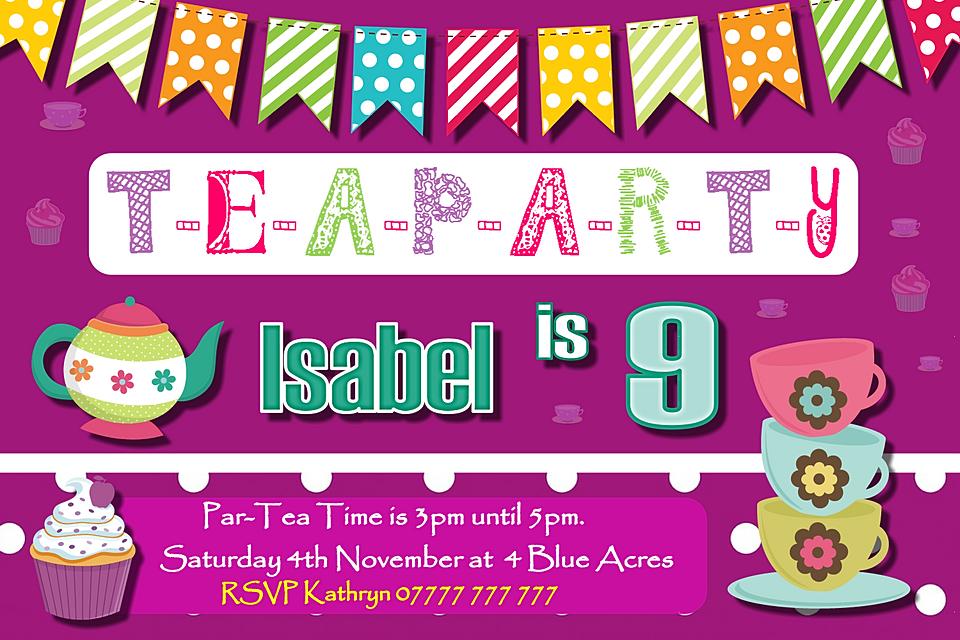 Personalised Kids Party Birthday Invitations | GoSmug.com | Tea ...