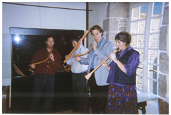 00276-Tour to Brittany- Ian McCrae, Andy Sherwood, Mary Sherwood 1999.jpg