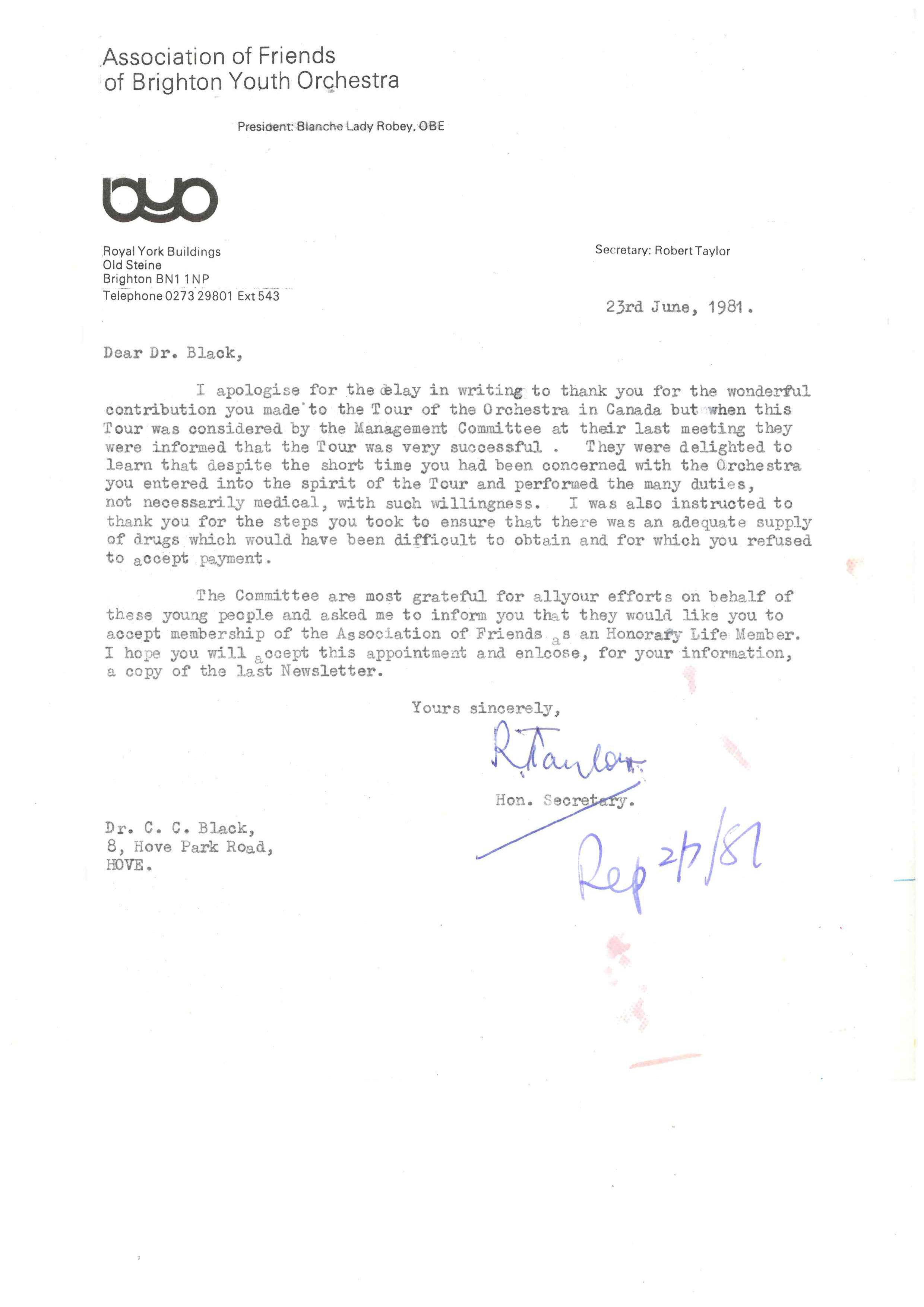 00126-BYO Letter; Robert Taylor to C. Black, 23rd June 1981.jpg