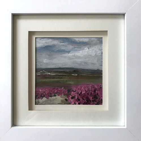 Mini Framed Original Acrylic painting - Heather at Hankley