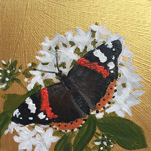Small Framed Original Acrylic painting - Butterfly series - Red Admiral