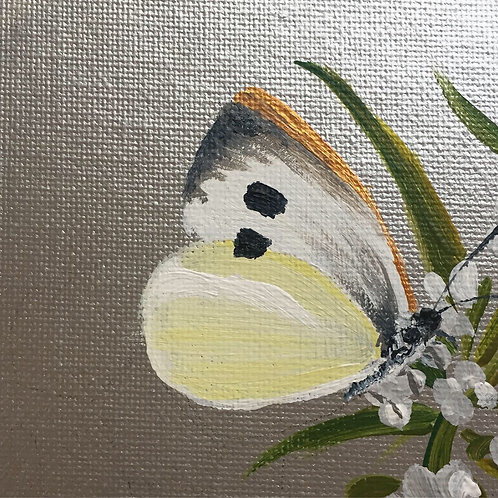Small Framed Original Acrylic painting - Butterfly series - Cabbage White