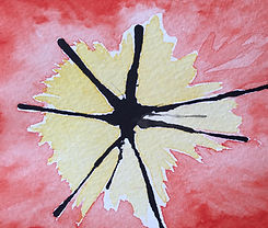 Escape2Art watercolour red and yellow abstract painting