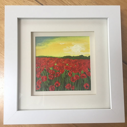 Small Framed Original Acrylic painting - Poppy Meadow ll