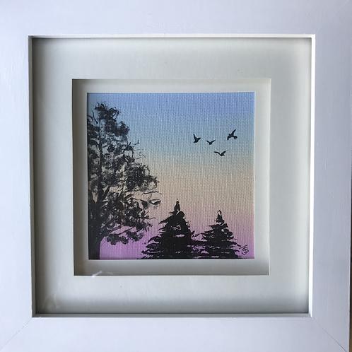 Small Framed Original Acrylic painting - Rainbow sunset