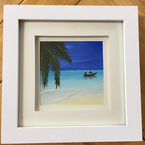 Small Framed Original Acrylic painting - Maldives Beach l
