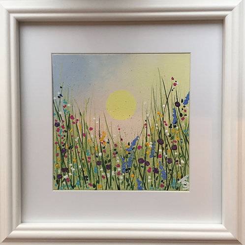 Midi Size Framed Original Acrylic painting - Summer Messy Meadow - Pastels