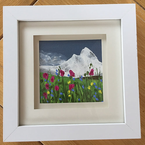 Small Framed Original Acrylic painting - Mountain Meadow l