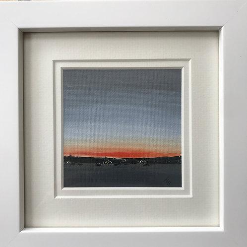 Mini Framed Original Acrylic painting - Distant Shores