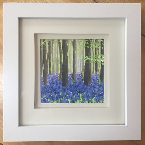 Small Framed Original Acrylic painting - Bluebell Wood