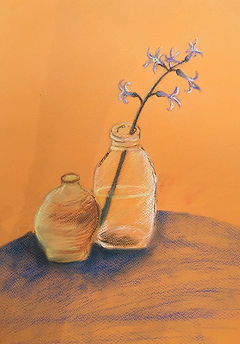 Escape2Art, flowers in jars, pastel image on paper