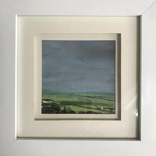Mini Framed Original Acrylic painting - Green Fields