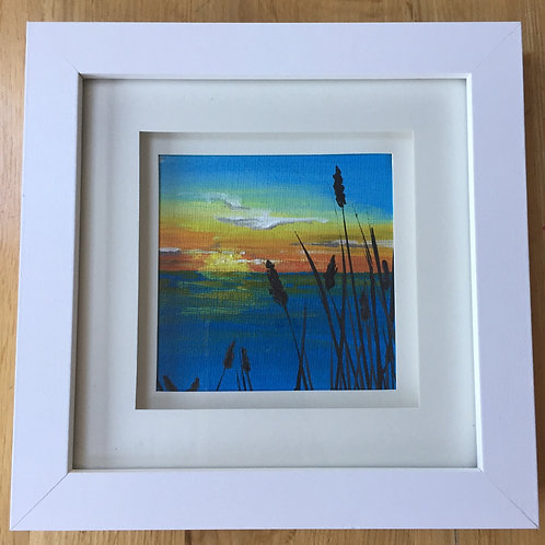Small Framed Original Acrylic painting - Bright Sunset & Reeds