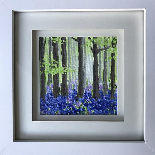 Mini Framed Original Acrylic painting - Bluebell Woods 2