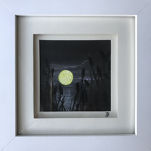Small Framed Original Acrylic painting - Moonlight on the water